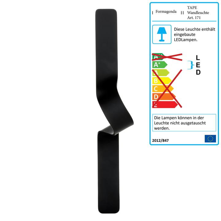 Formagenda – Tape væglampe, sort