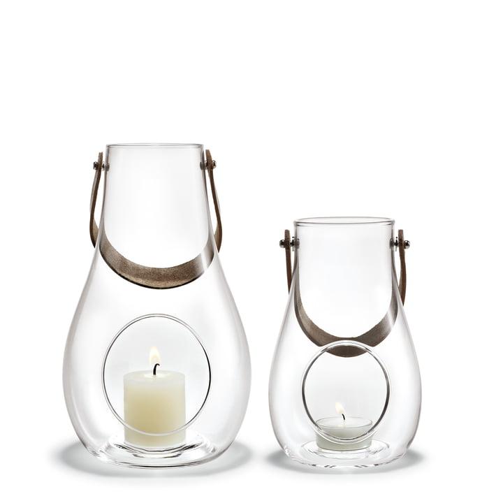 Design med lys lanterne (sæt med 2) H 16 cm + 25 cm af Holmegaard i klart
