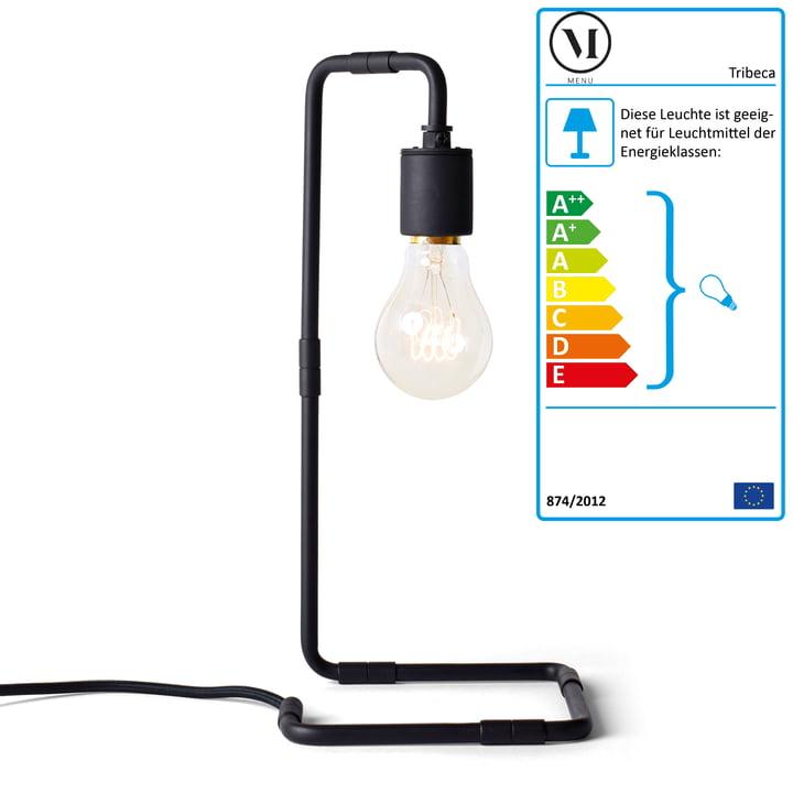 Reade bordlampe ved menu i sort