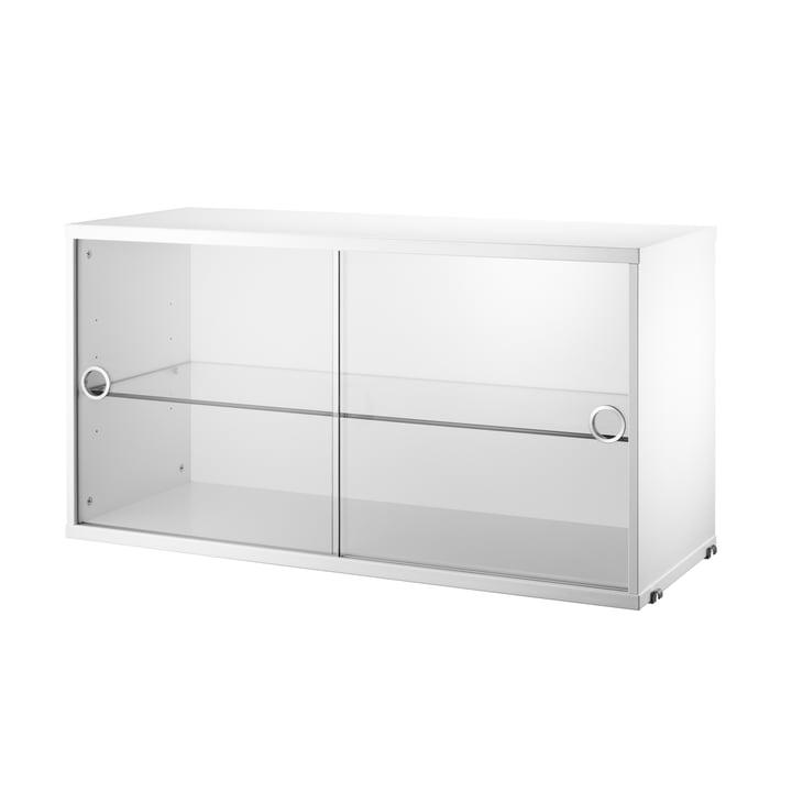 Skab med skydedøre i glas, 78 x 30 cm, fra String i hvid
