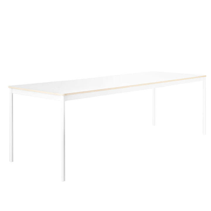 Base bordet fra Muuto, stel: hvidt, bordplade: hvid med krydsfinerkanter