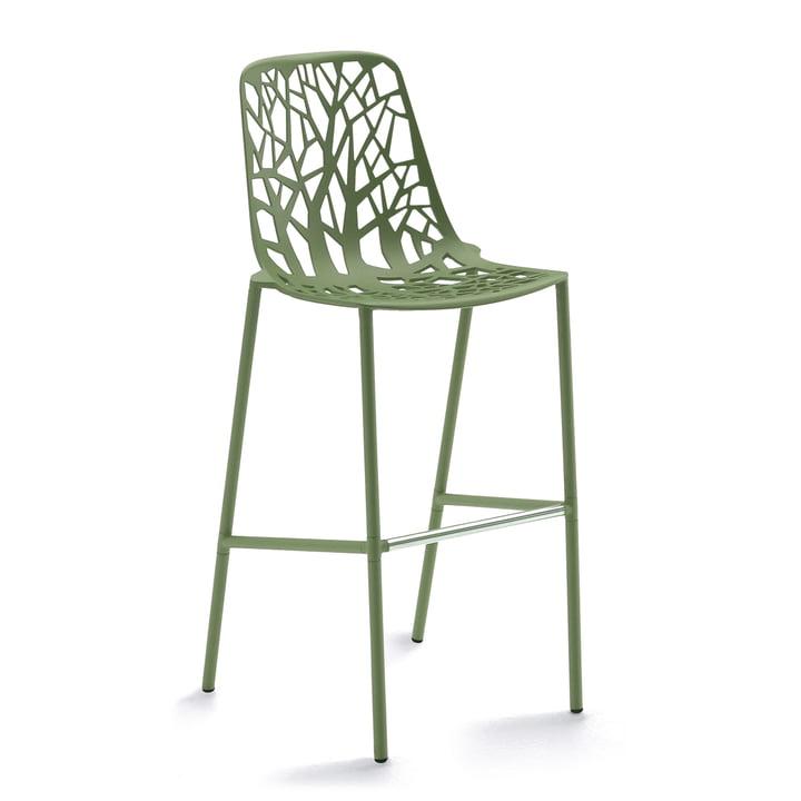 Fast – Forest barstol, høj, med højt ryglæn, kaki