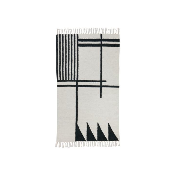 ferm LIVING – kelimtæppe, Black Lines, lille