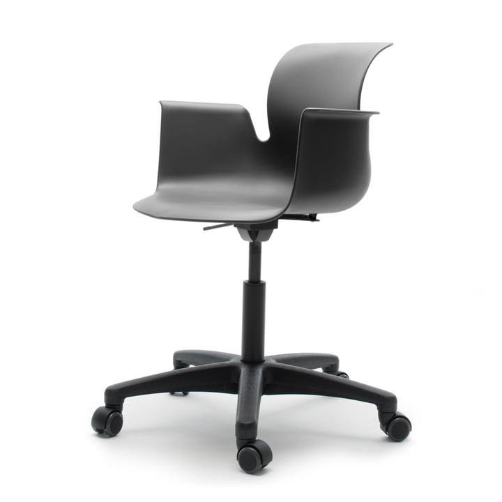 Flötotto – Pro 6 drejestol med armlæn, polyamid/grafit