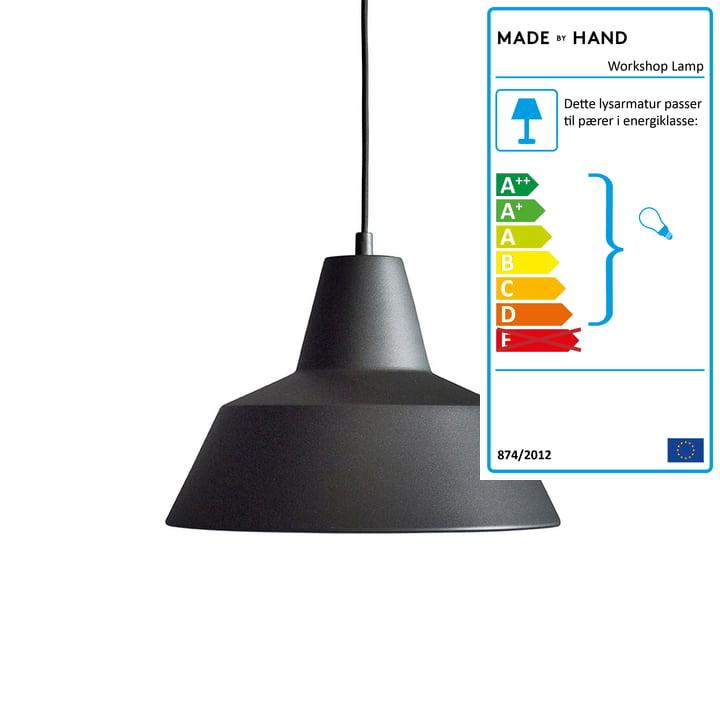 Made by Hand – værkstedslampe W3 i antracitsort