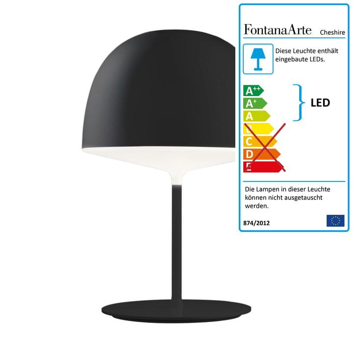 Cheshire bordlampe fra FontanaArte i sort