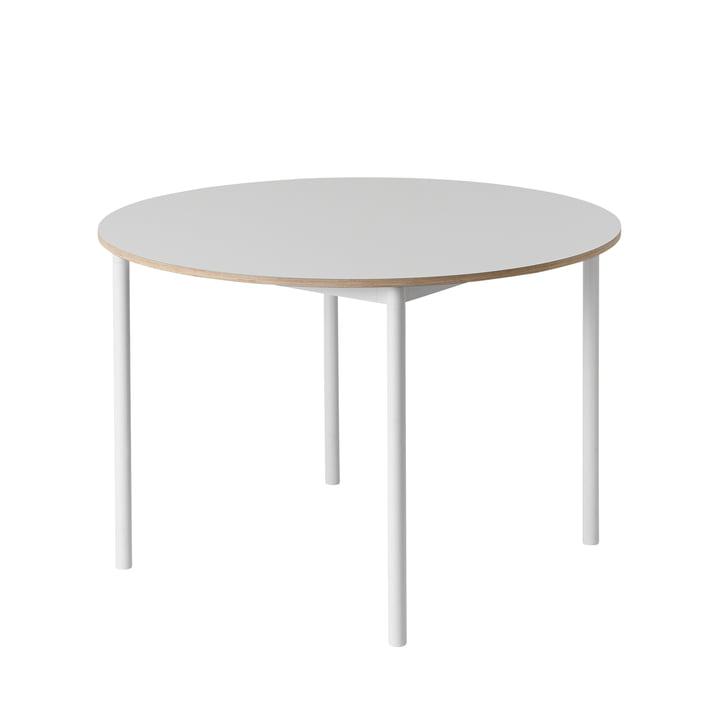 Muuto – Base bord Ø 110 cm i hvid med krydsfinerkant