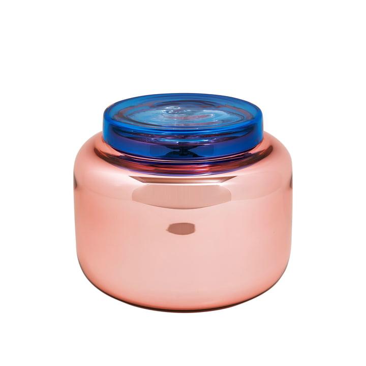 Low Container vase fra Pulpo i rosa med blåt låg