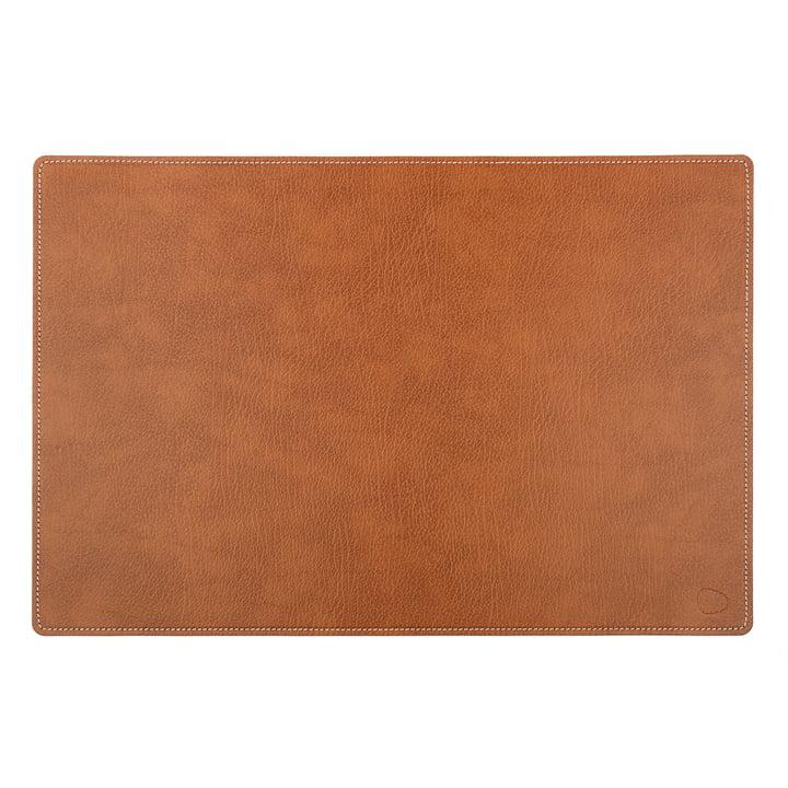 Work Mat Square XXL, 54 x 74 cm, i Bull naturlæder med hvide syninger