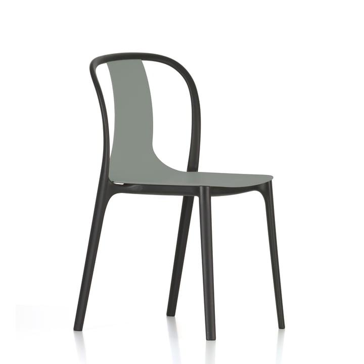 Belleville stol i plastik fra Vitra i mosgrå