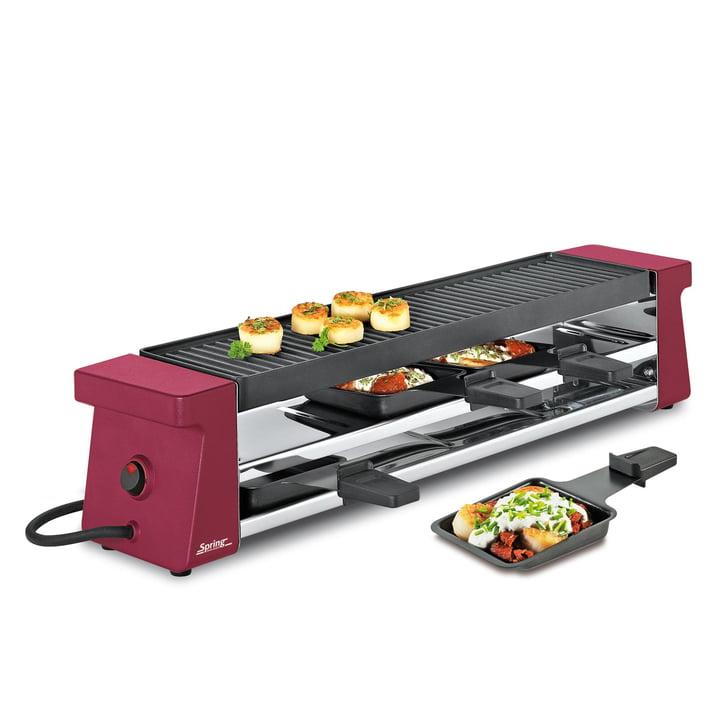 Spring – Raclette 4 Compact, rød med aluminiumsplade EU
