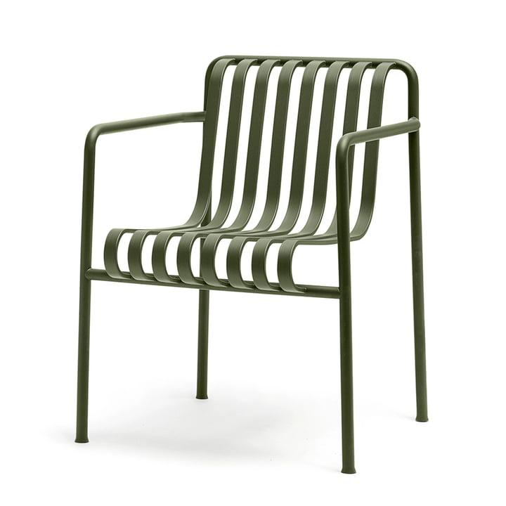 Palissade spisebordsstolen med armlæn fra Hay i olivengrøn