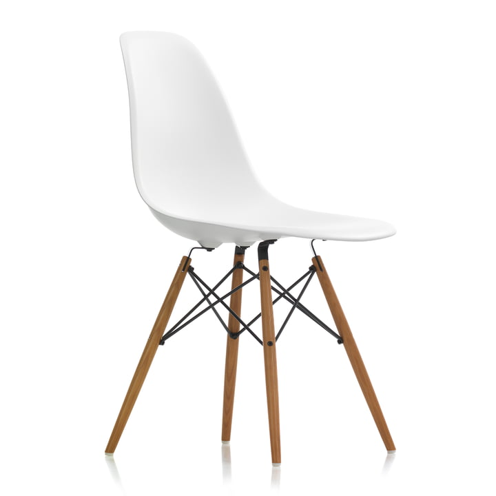 Eames plast sidestol DSW af Vitra i askehonefarvet / hvid