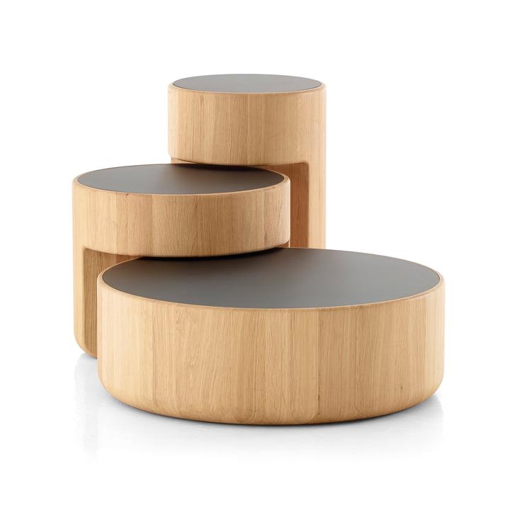 Peruse – Levels indskudsborde, sæt med 3 stk., olieret eg/sort (RAL 9005)