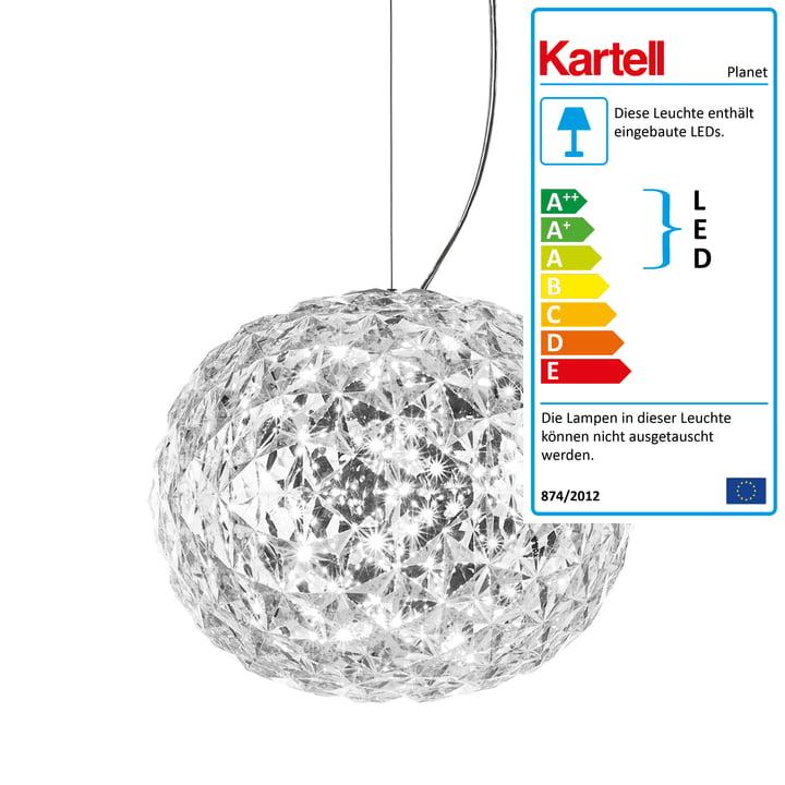 Planet LED-pendel fra Kartell i krystalklar