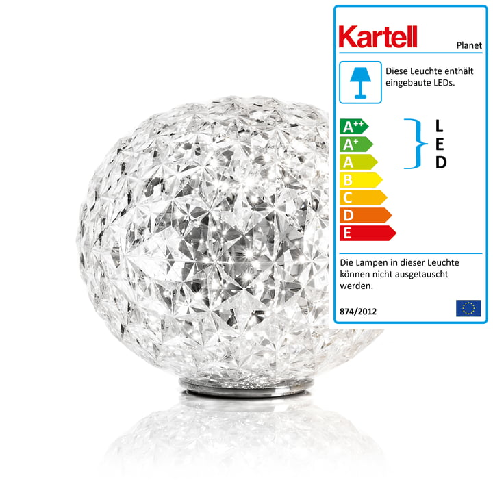 Planet LED-bordlampe med fod fra Kartell i krystalklar
