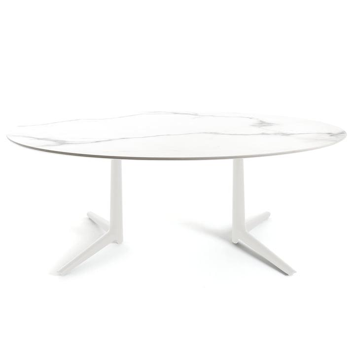 Ovalt Multiplo spisebord på 192 x 118 cm fra Kartell i fajance i marmorstil i hvid