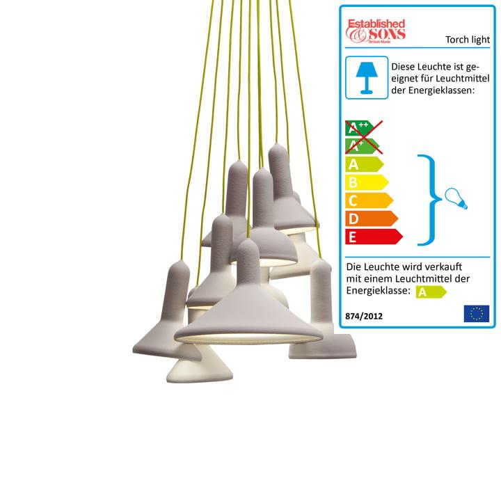 Established & Sons – Torch Light Bunch pendel, signalgrå/gul