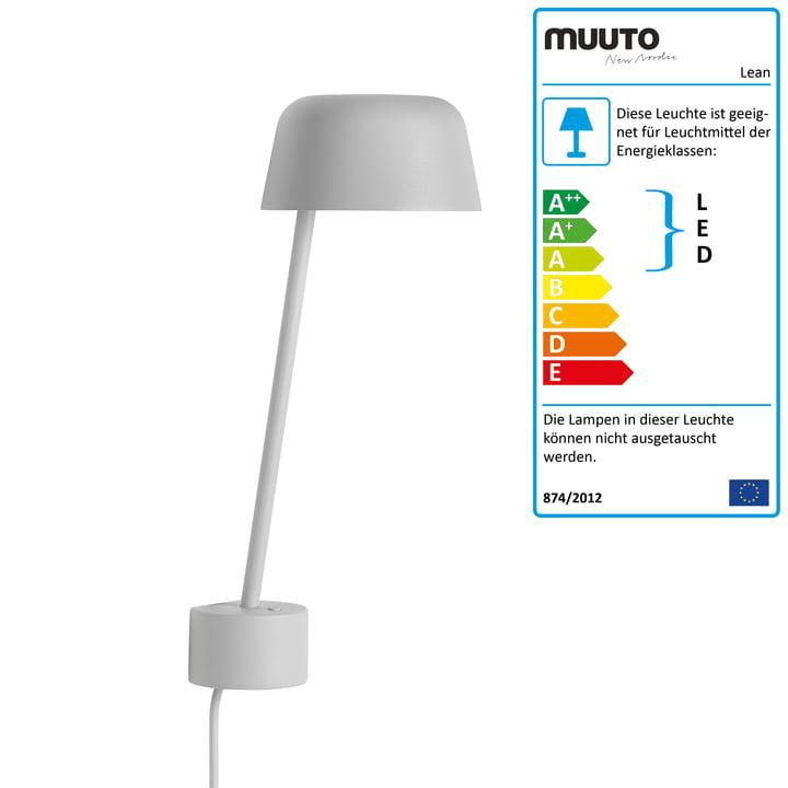 Lean LED-væglampen fra Muuto i grå