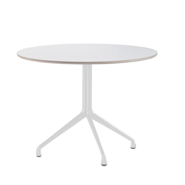 Hay - About A Table AAT 20 spisebord, 3 ben, Ø110 cm, hvid / hvid (plastglider)