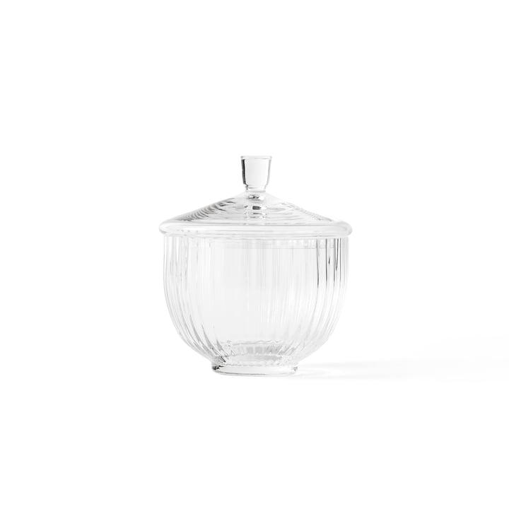 Gennemsigtig glasskål med låg på Ø 10 cm fra Lyngby Porcelæn