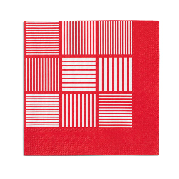 Nanna Ditzel papirservietter, 20 stk. 40 x 40 cm fra Rosendahl i rød/hvid