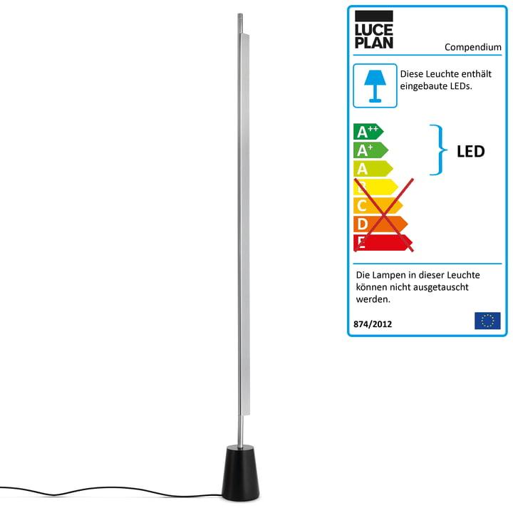 D81 Compendium LED-gulvlampen fra Luceplan i aluminium / sort