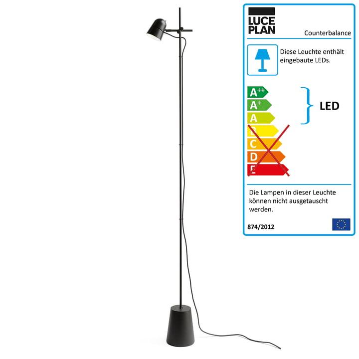 Counterbalance gulvlampen fra Luceplan i sort