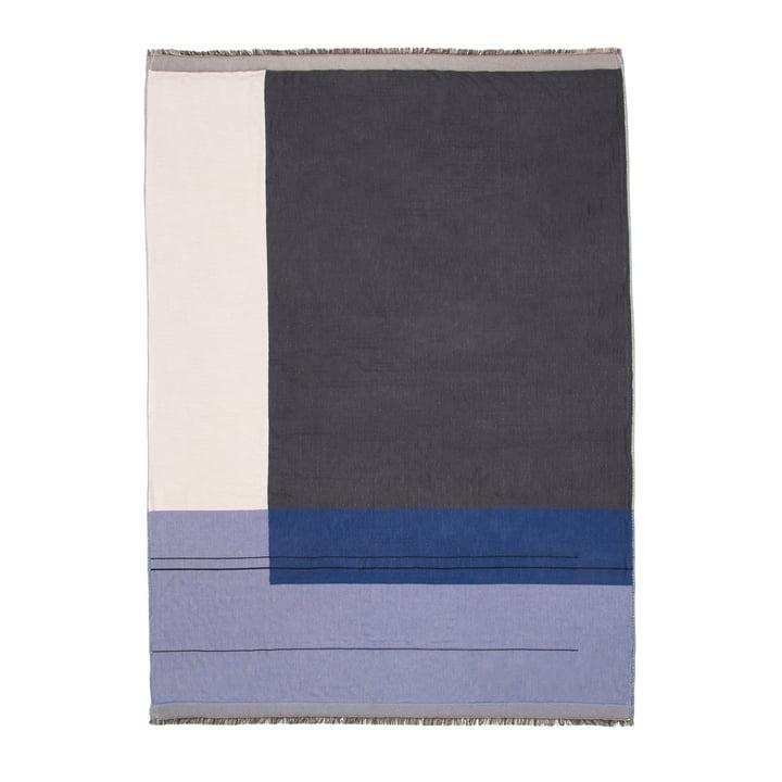 Blåt Colour Block tæppe fra ferm LIVING