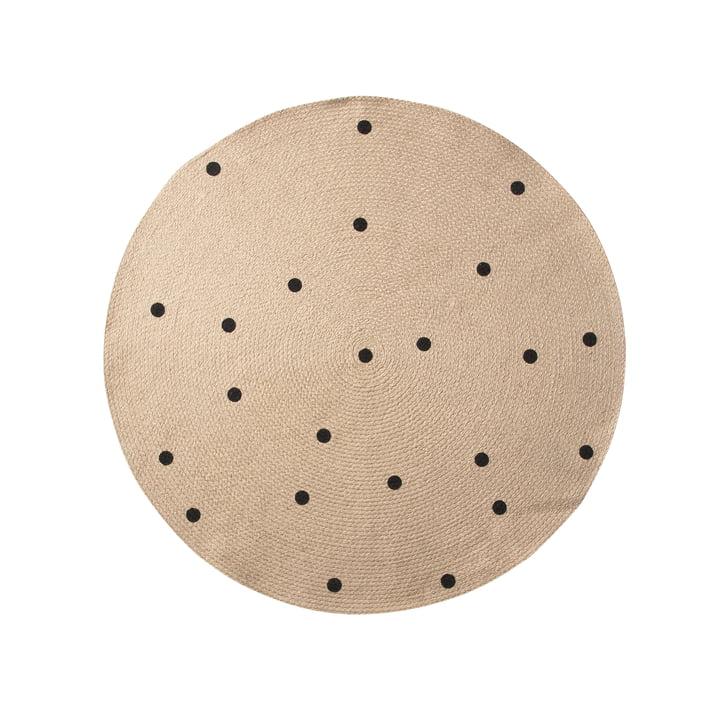 Black Dots tæppe i jute, Ø 100 cm fra ferm LIVING