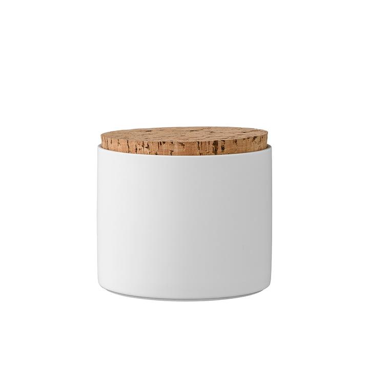Opbevaringskrukke med korklåg på H 11,8 cm fra Bloomingville i hvid