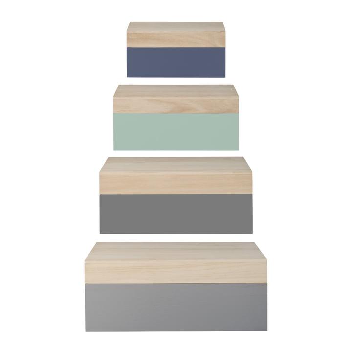 Bloomingville – opbevaringskasser i træ (sæt med 4), natur/pastel