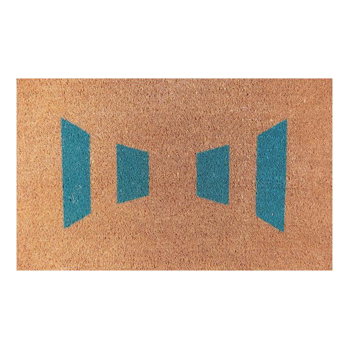 Ruckstuhl – dørmåtte med stregmønster i turkisblå