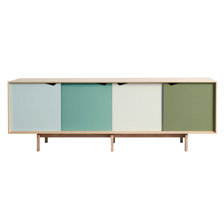 S1 skænk fra Andersen Furniture i sæbebehandlet eg (låger i Dali, Capri, Alpino, Pale Olive)