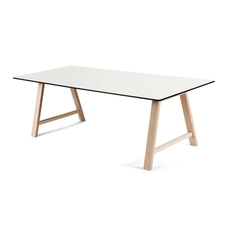 T1 udtræksbord på 180 cm fra Andersen Furniture (understel i sæbebehandlet eg, bordplade i hvid laminat)