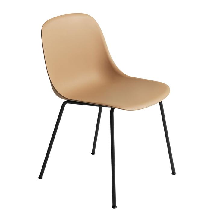 Fiber Side Chair Tube Base fra Muuto i okkergul/sort