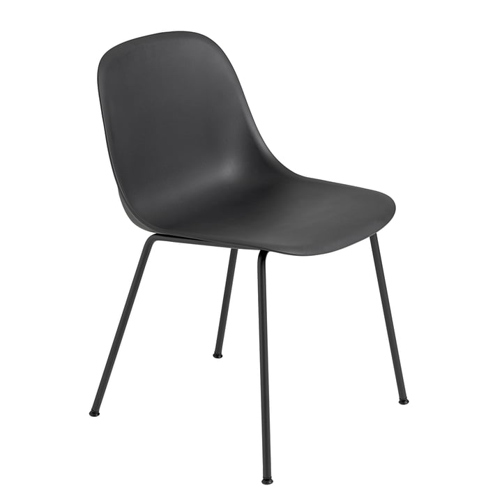 Fiber Side Chair Tube Base fra Muuto i sort