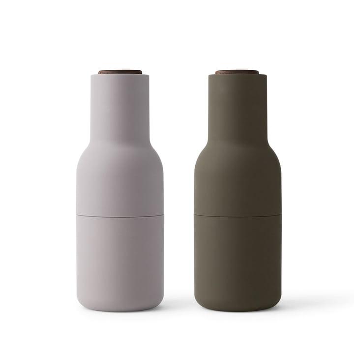 Flaske Salt og peberfrugter Sæt af Menu i Jagtgrønt / Beige (Træ låg)