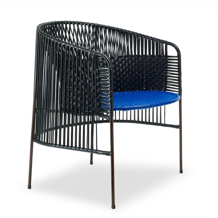 ames – caribe lænestol, sort/blå/brun