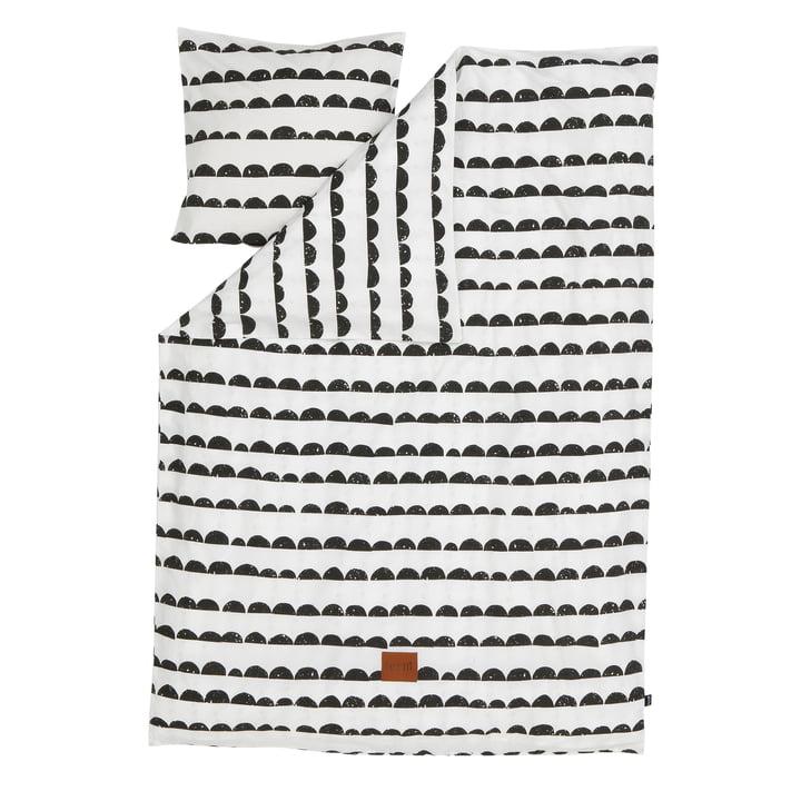 Half Moon sengetøj, 140 x 200 cm fra ferm LIVING i sort/hvid