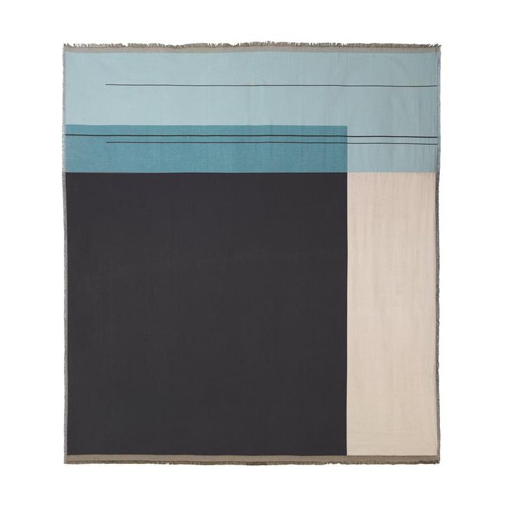 Colour Block sengetæppe, 240 x 250 cm fra ferm LIVING i støvet blå