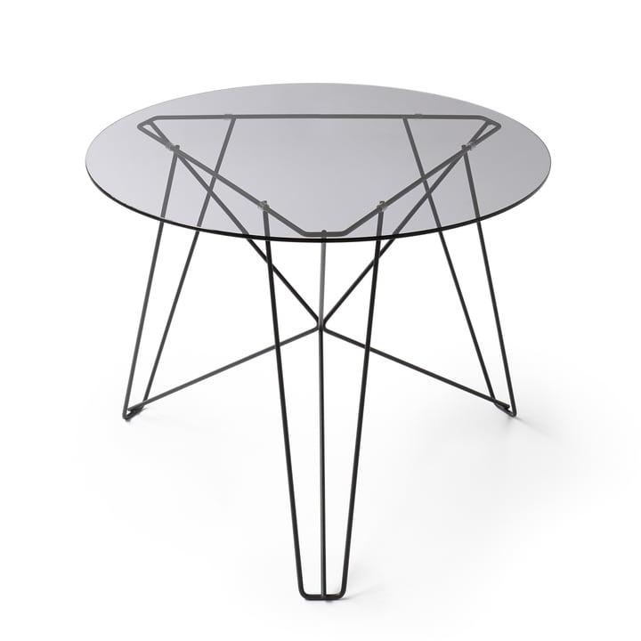 Spectrum – IJhorst sofabord L, Ø 60 cm, sort (RAL 9005)/røgfarvet glas