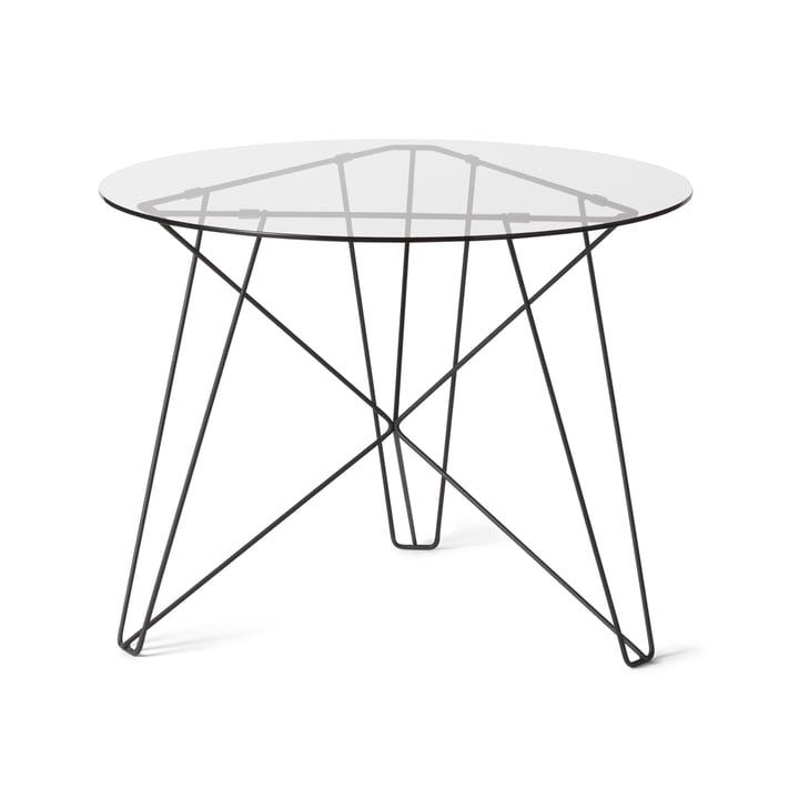 Spectrum – IJhorst sofabord L, Ø 60 cm, sort (RAL 9005)/lyst glas