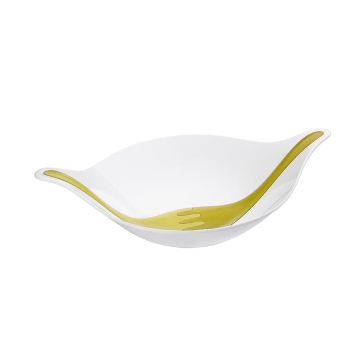 Koziol – Leaf salatskål med salatbestik, 3 l, olivengrøn/sennepsgrøn