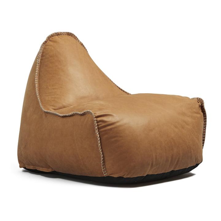 RETROit Dunes sækkestol fra SACKit i cognacfarvet læder