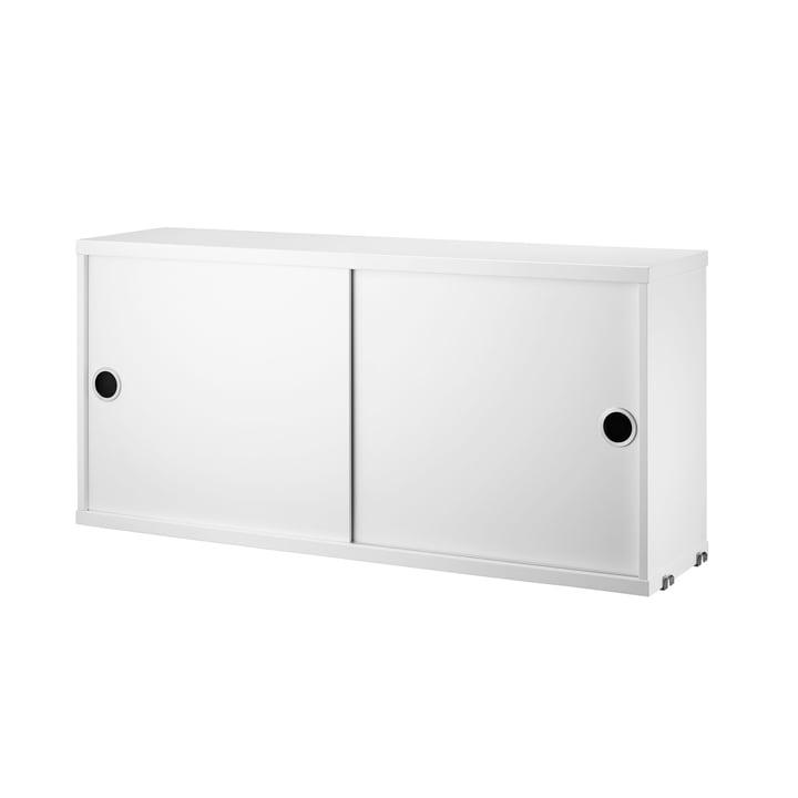 String – skab med skydedøre, 78 x 20 cm, hvid