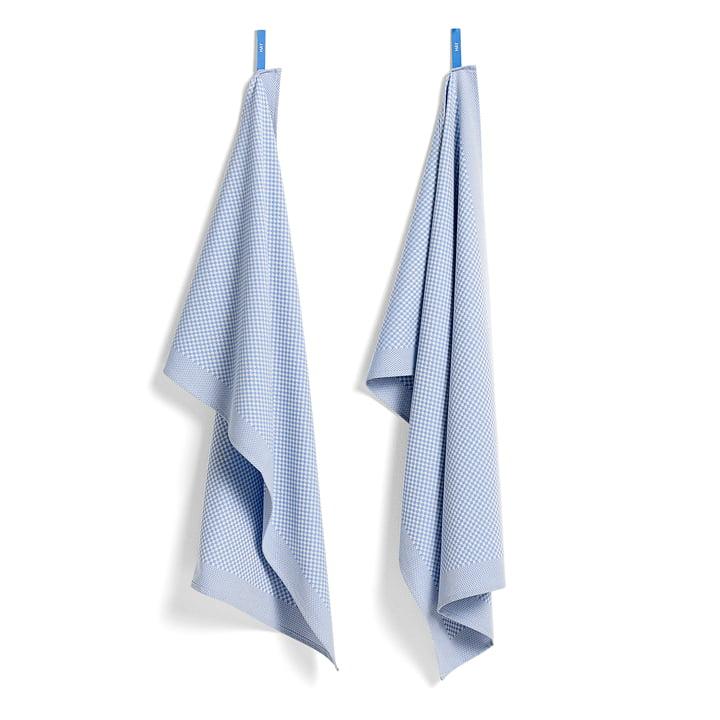 Viskestykker fra Hay i ternet/lyseblå (sæt med 2 stk.)