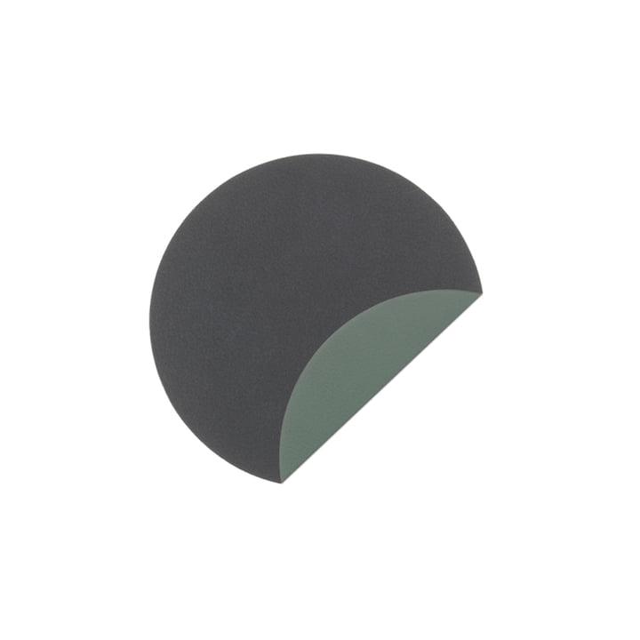 Glasmåtter cirkel dobbeltcoaster Ø 10 cm fra LindDNA i Cloud Anthracite / Nupo Pastel Green (2 mm)