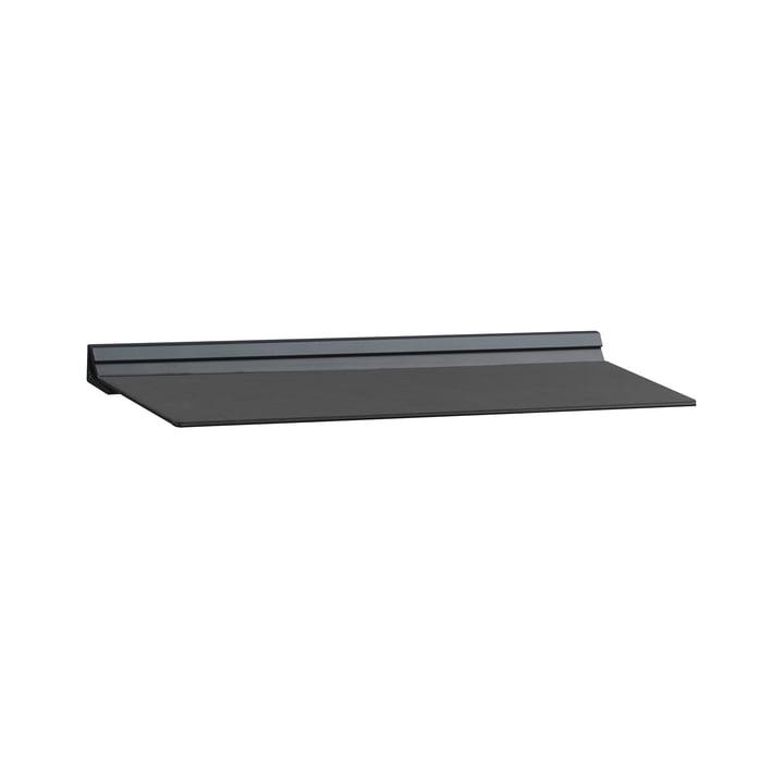 Slim væghylde fra LindDNA i størrelsen S 12 x 35 cm af sort nupolæder / sort stål