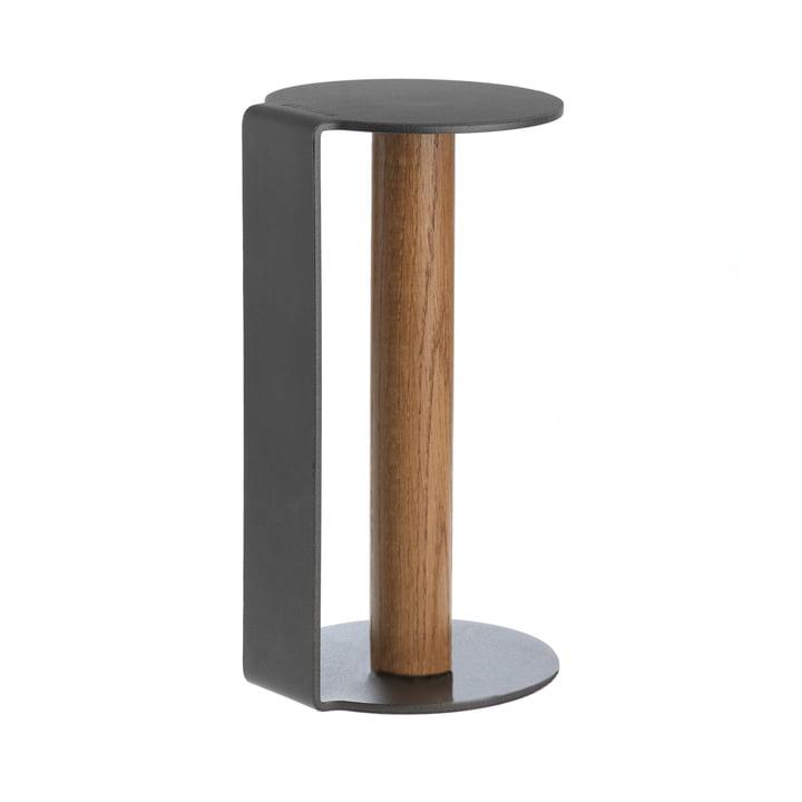 Køkkenrulleholder XL 31 cm fra LindDNA i antracitfarvet nupolæder / antracitfarvet aluminium.